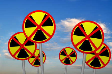 Anti nuclear signs against the sky Stock Photo - 9211226