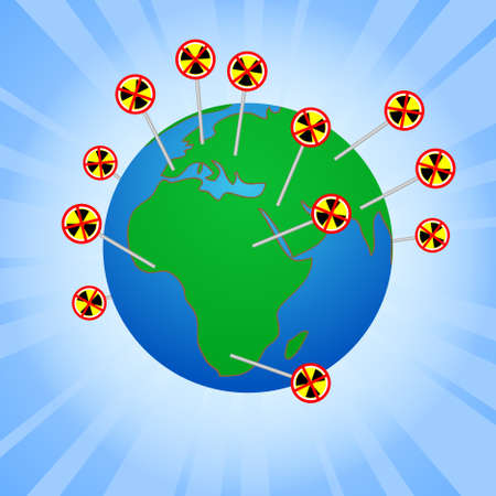 anti nuclear: Earth globe with anti-nuclear anti-nuclear protests worldwide