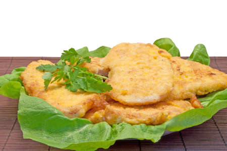 Chicken cutlets decorated with lettuce photo