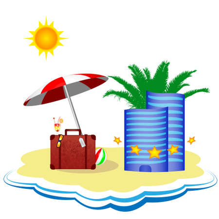 Summer vacation in the five-star hotel on the beach Vector