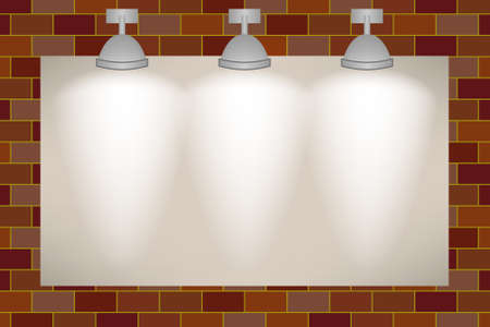 Ad space on the brick wall illuminated with three spotlights Vector
