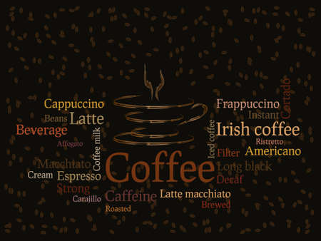 Coffee background with coffee beans and writing sorts Vector