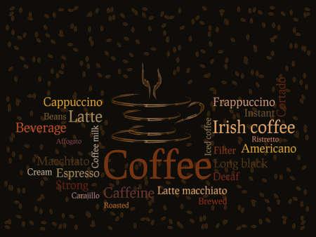 chicchi di caff�: Sfondo di caff� con chicchi di caff� e tipi di scrittura