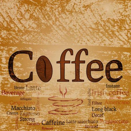 hot announcement: Palabra caf�, diversos tipos de caf� y Copa de forma abstracta sobre el fondo de su