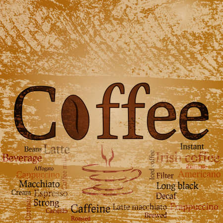 splotchy: Word Coffee, various coffee sorts and abstract shape cup on the splotchy background