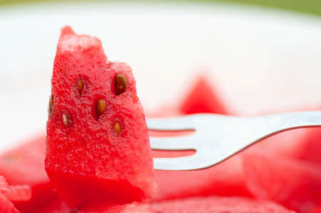 Watermelon slice on the fork Stock Photo - 10164755