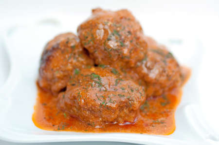Close up of meatballs in tomato sauce Stock Photo - 10261624
