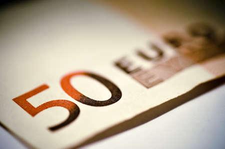 number 50: Cerca de un n�mero 50 en el billete de Euro cincuenta Foto de archivo