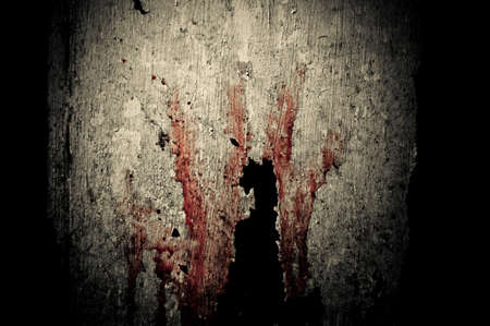 Bloody hand imprint on the wooden background photo