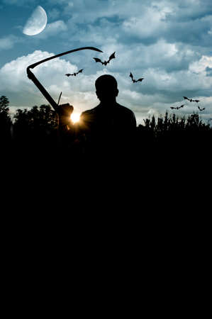 Male silhouette holding scythe and bats flying around, under cloudy sky at twilight and copy-space on the black space photo