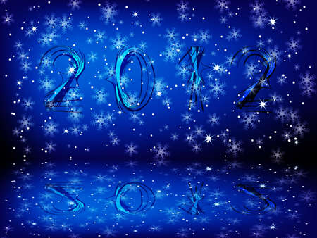 New year 2012 blue background with reflection photo