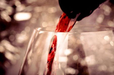 Close-up shot of pouring red wine into glass photo
