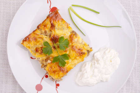 Moussaka served with sour cream - aerial view Stock Photo - 13060870