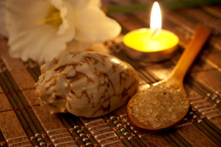 Fragrant sea salt in the wooden spoon, shell, candle and flower photo