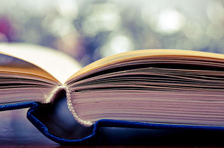 Macro shot of open book and bokeh effect in the background Stock Photo