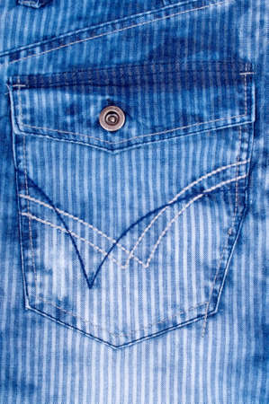 Back pocket on the modern stripped jeans pants photo