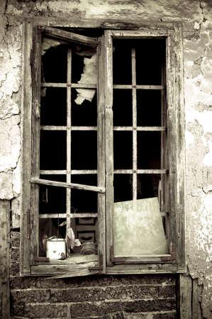 abandoned farmhouse abandoned farmhouse: Window on the old abandoned farmhouse