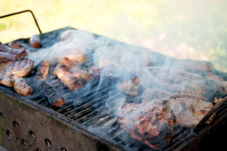 Grilled meat and smoke for picnic photo