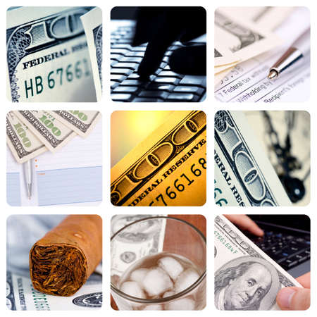 Collage of American hundred dollar-bills - contemporary business concept photo