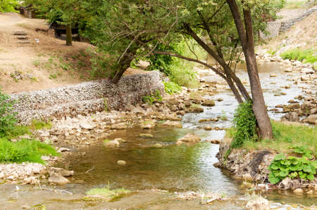 Little shallow river, tree and stones photo