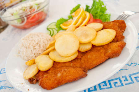 Breaded turkey steak served with chopped potato and rice, decorated with orange, lettuce and tomato photo