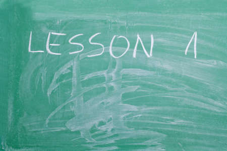 word lesson: Word Lesson 1  written on the school board