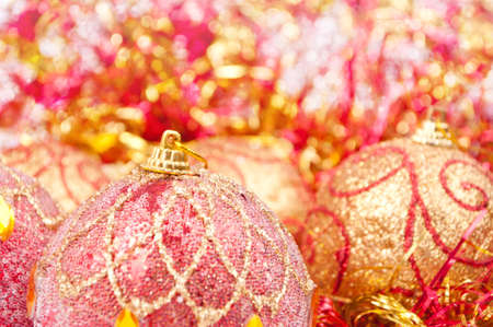 Close-up shot of Christmas baubles with bokeh background photo