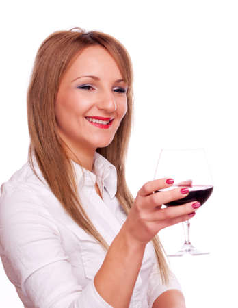 Beautiful young girl holding glass of red wine, isolated on white photo