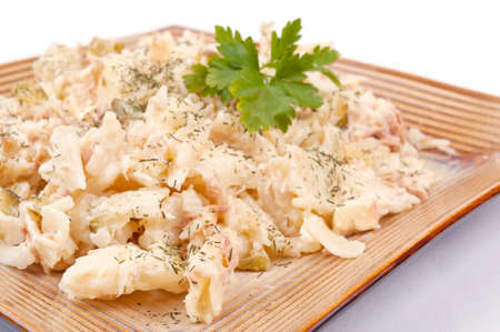 Macaroni with tuna, mayonnaise, cucumber and cheese photo