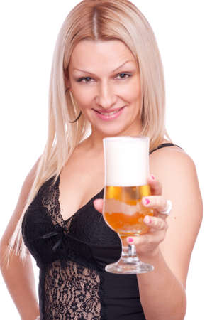 women holding cup: Beautiful blonde holding glass of beer, isolated on white
