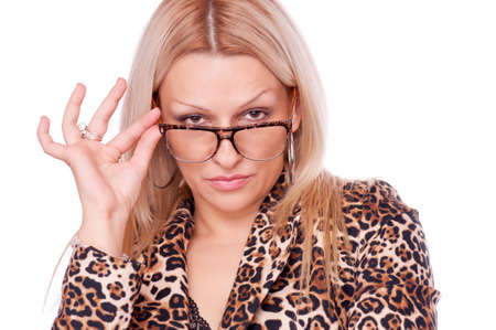 Lovely blonde in the tigerish jacket holding eyeglasses, isolated on white Stock Photo - 16862525