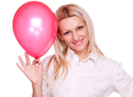 Attractive blonde holding red balloon, isolated on white Stock Photo - 16880511