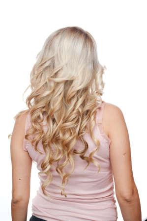 mujeres de espalda: Blonde con el pelo rizado, aislado en blanco