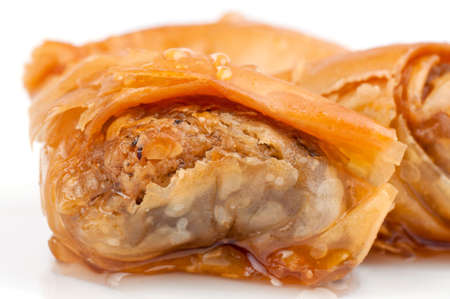 Macro shot of baklava on the white background photo