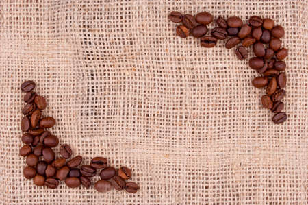 finder: Coffee beans on the burlap make view finder Stock Photo