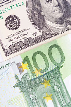 upvaluation: Background of American and European bills Stock Photo