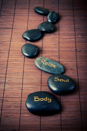 Black massage stones photo