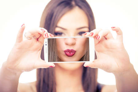 sexy photo: Girl taking selfie of her kissable lips