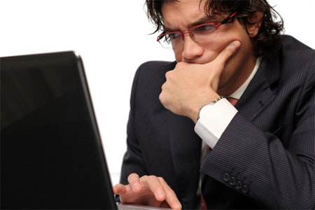 Worried business young man isolated photo