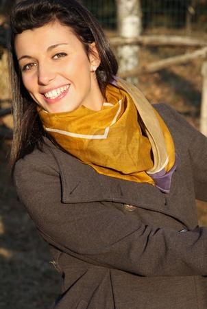 Happy teen-ager posing outdoor photo