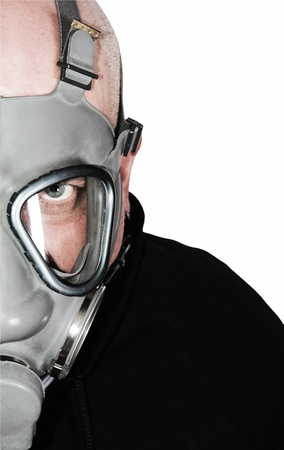 Chemical warfare gas mask isolated with clipping path photo