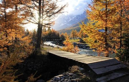 Bridge to idyllic landscape in Ferret Valley at sunset photo