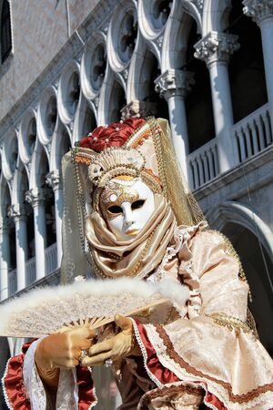 Elegant venetian mask with marble columns as background. 2012 Venice Carnival. photo