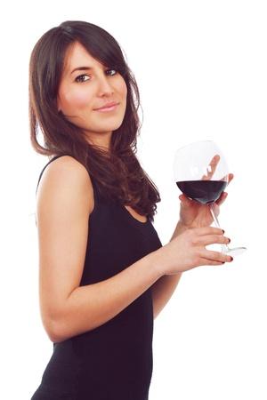 Elegant young girl with a red glass of wine. On white . Stock Photo - 12473876
