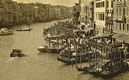 Great canal in Venice from top of Rialto bridge , old paper texture photo