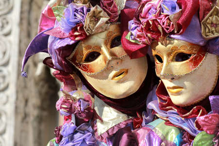 Purple jesters portrait   Venice carnival 2012 photo