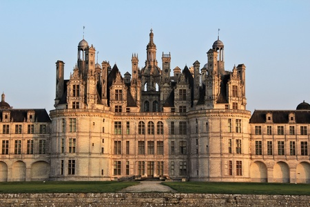 chambord: Chambord castle facade detail    Loire valley , central France  Sunset light