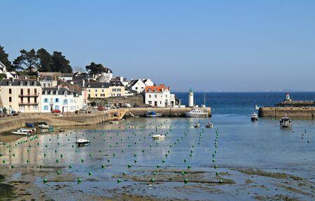 belle: Beautiful sea village of Sauzon in low tide hours .  Belle ile en mer , Brittany , France  Stock Photo