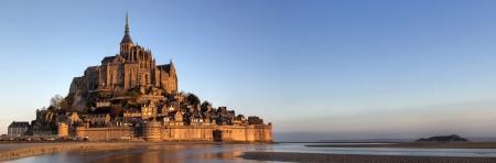 mont saint michel: Mont Saint Michel bay taken at dawn  Normandy , France   Panoramic view   Stock Photo