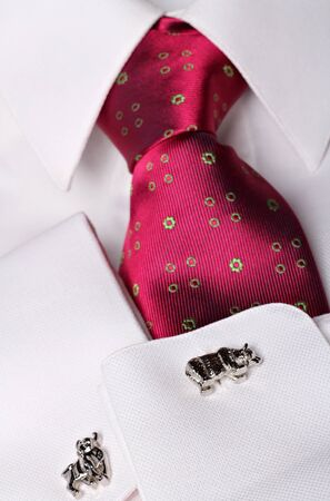 Stockbroker cufflinks with bull and bear shape  and stylish tie. Finance concept . Stock Photo - 14497588